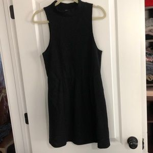 Black slight turtle neck mini dress